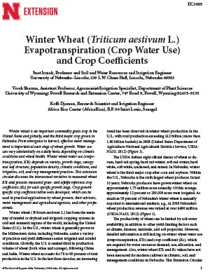 Winter Wheat (Triticum aestivum L.) Evapotranspiration (Crop Water Use) and Crop Coefficients (EC3005)