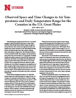 Observed Space and Time Changes in Air Temperatures and Daily Temperature Range for the Counties in the U.S. Great Plains