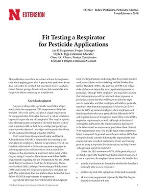 Fit Testing a Respirator for Pesticide Applications (EC3027)