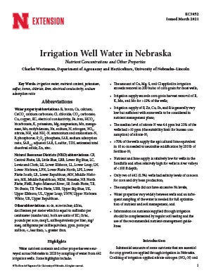 Irrigation Well Water in Nebraska: Nutrient Concentrations and Other Properties