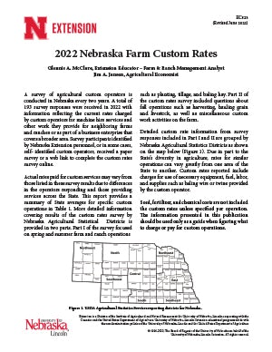 2020 Nebraska Farm Custom Rates