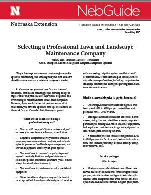 Selecting a Professional Lawn and Landscape Maintenance Company (G1617)