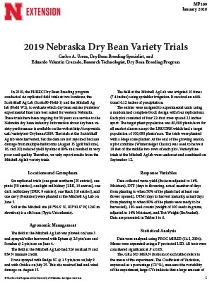 2019 Nebraska Dry Bean Variety Trials