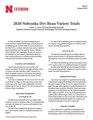 2020 Nebraska Dry Bean Variety Trials